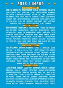 Lineup du Festival Lollapalooza 2018 de Chicago (via hellochicago.fr)