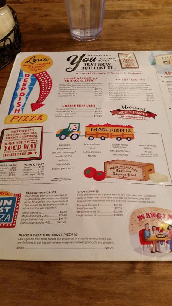 Lou Malnati's menu