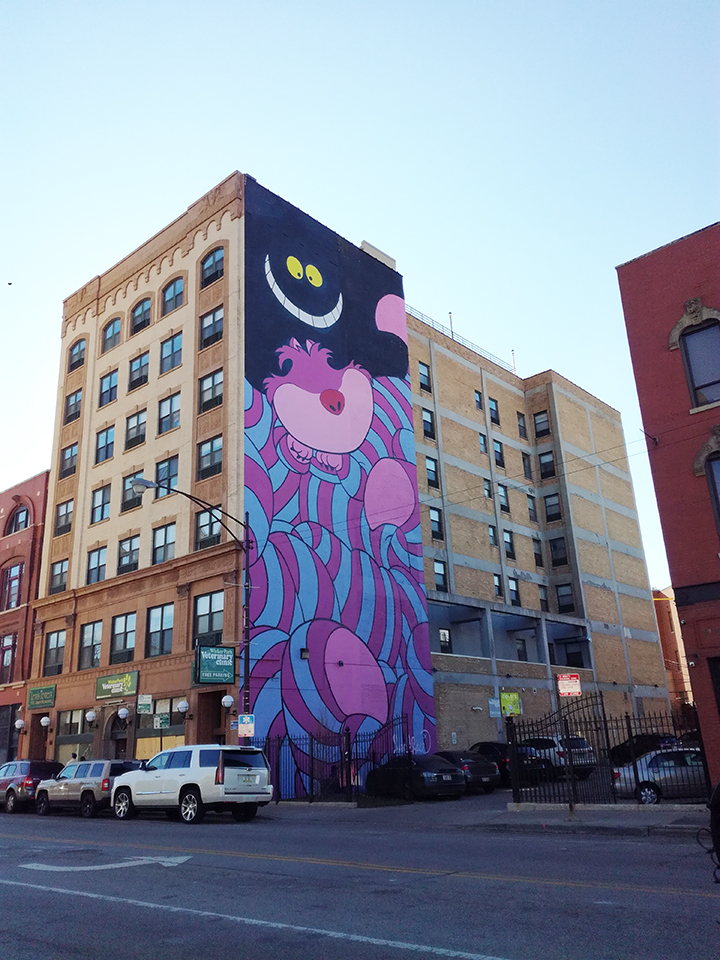 Street-Art à Chicago - Cheshire cat