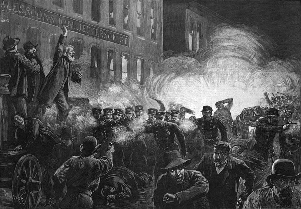 Gravure de 1886 parue dans le journal Harper's Weekly représentant le drame de Haymarket Square